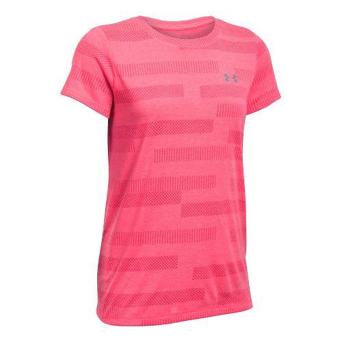 Womens Under Armour Threadborne Train Crew Neck Jacquard Short Sleeve Technical Tops - Pink Shock S