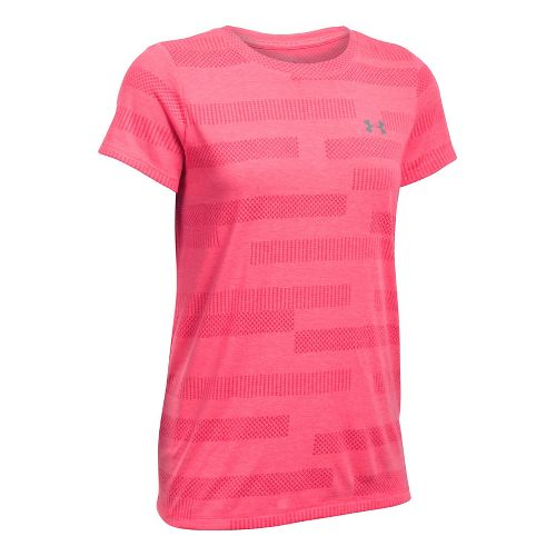 Womens Under Armour Threadborne Train Crew Neck Jacquard Short Sleeve Technical Tops - Pink ...