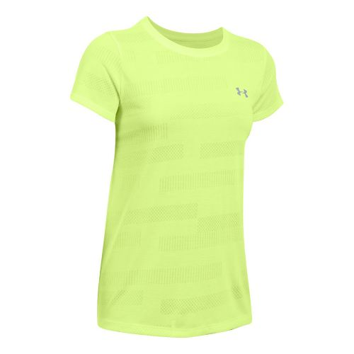 Womens Under Armour Threadborne Train Crew Neck Jacquard Short Sleeve Technical Tops - Pale ...