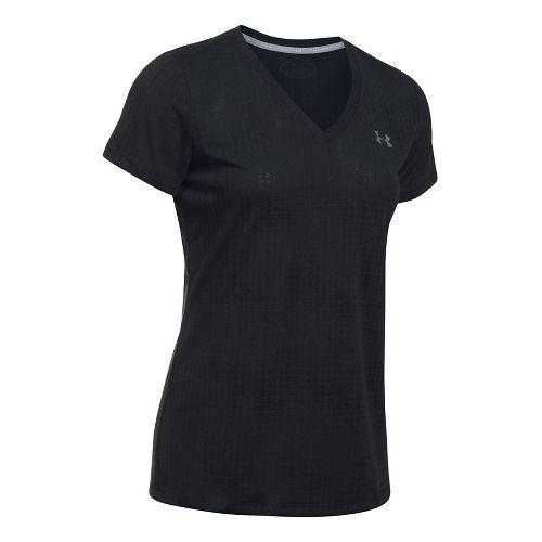 Womens Under Armour Threadborne Train V Neck Jacquard Short Sleeve Technical Tops - Black M