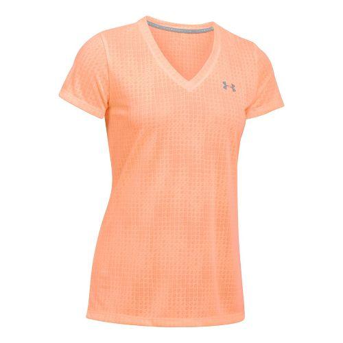 Womens Under Armour Threadborne Train V Neck Jacquard Short Sleeve Technical Tops - Playful Peach M