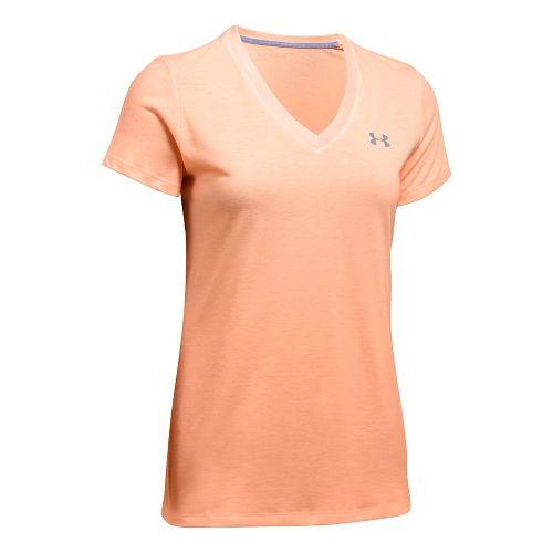 Womens Under Armour Threadborne Train V Neck Twist Short Sleeve Technical Tops - Playful Peach ...