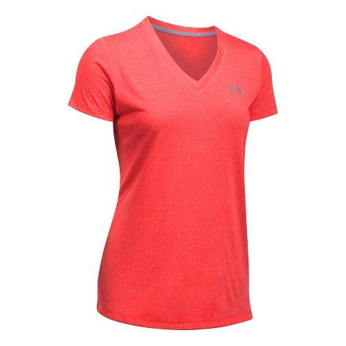 Womens Under Armour Threadborne Train V Neck Twist Short Sleeve Technical Tops - Pomegranate M ...