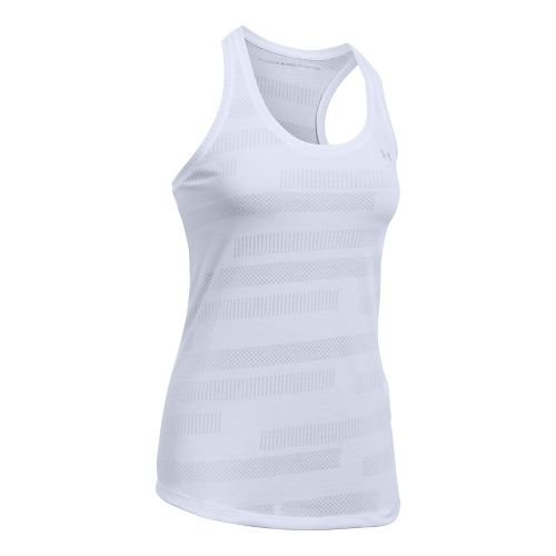 Womens Under Armour Threadborne Train Jacquard Sleeveless & Tank Tops Technical Tops - White L ...