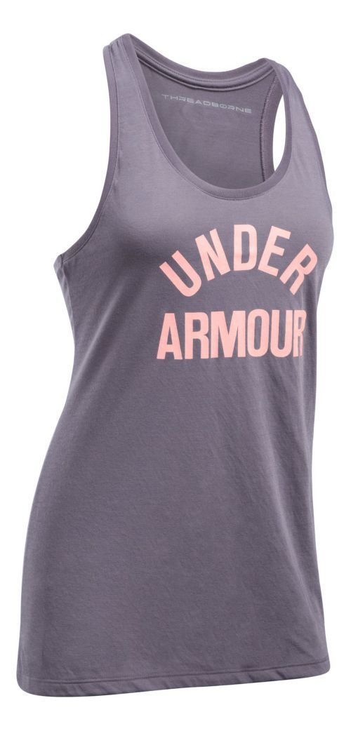 Womens Under Armour Threadborne Train Wordmark Sleeveless & Tank Tops Technical Tops - Flint/Pink M