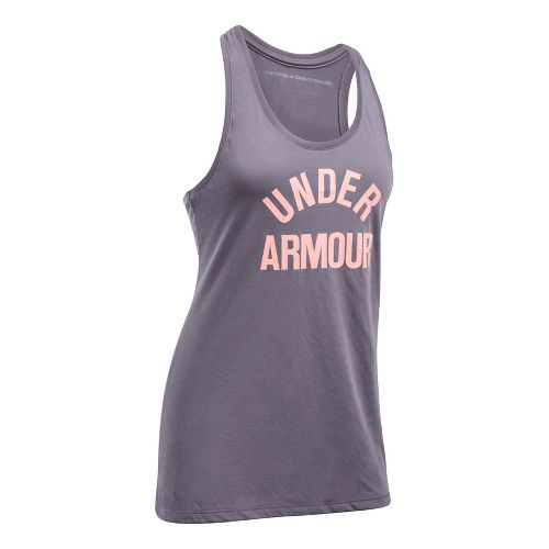 Womens Under Armour Threadborne Train Wordmark Sleeveless & Tank Tops Technical Tops - Flint/Pink L