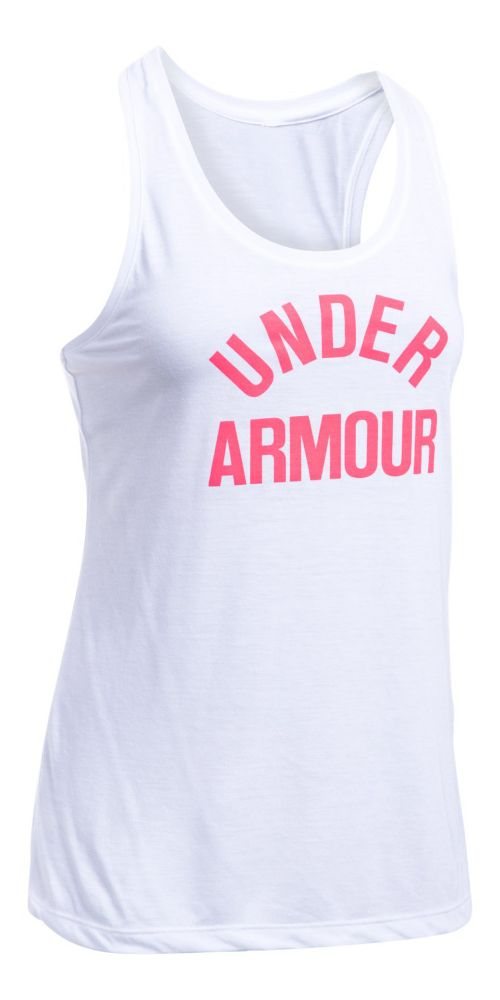 Womens Under Armour Threadborne Train Wordmark Sleeveless & Tank Tops Technical Tops - White/Pink M