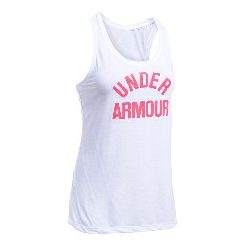 Womens Under Armour Threadborne Train Wordmark Sleeveless & Tank Tops Technical Tops - White/Pink M