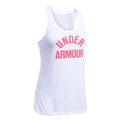 Womens Under Armour Threadborne Train Wordmark Sleeveless & Tank Tops Technical Tops - White/Pink S