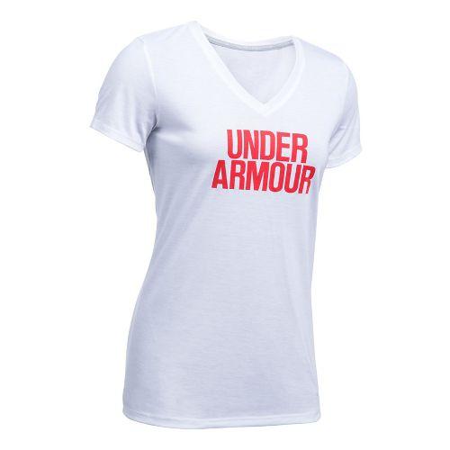 Womens Under Armour Threadborne Train Wordmark V Solid Short Sleeve Technical Tops - ...