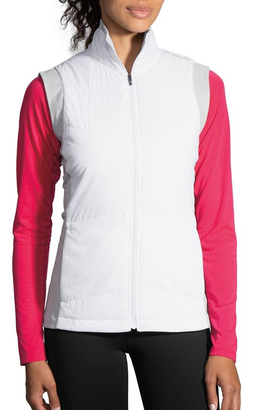 Womens Brooks Cascadia Thermal Vest Running Jackets - White/Heather Sterling M