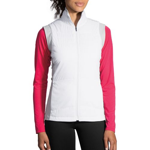 Womens Brooks Cascadia Thermal Vest Running Jackets - White/Heather Sterling S