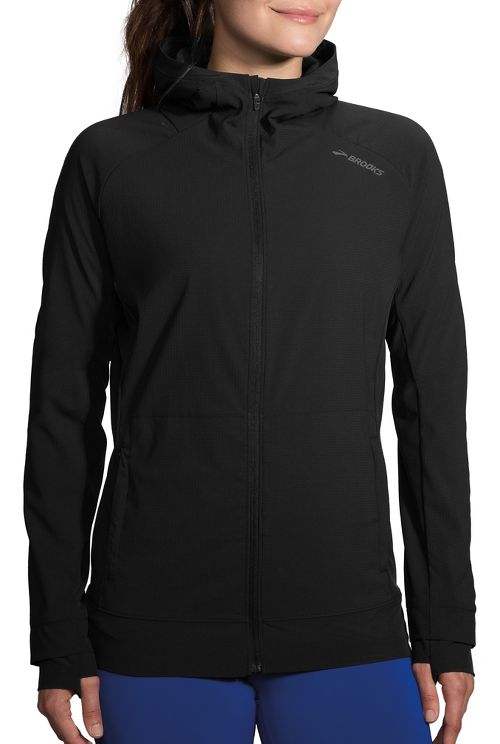 Womens Brooks Canopy Jacket Running Jackets - Black M