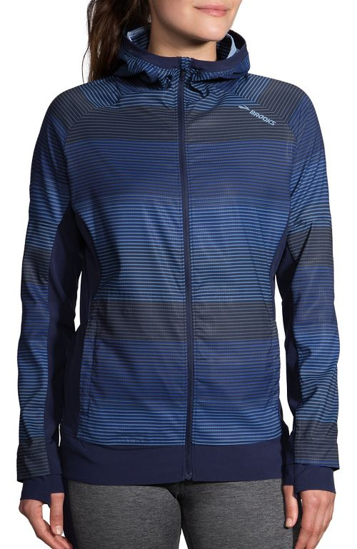 Womens Brooks Canopy Jacket Running Jackets - Marina Haze/Navy L
