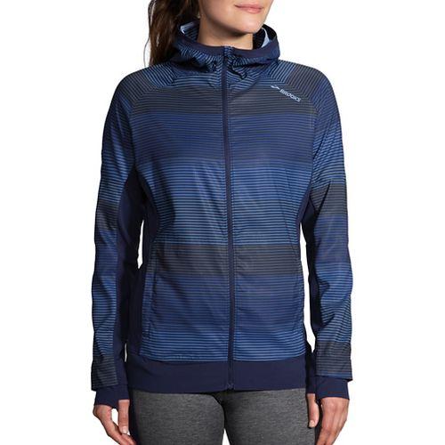 Womens Brooks Canopy Jacket Running Jackets - Marina Haze/Navy XL