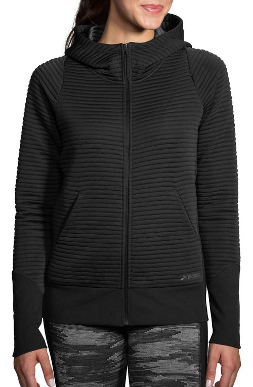 Womens Brooks Fly-By Hoodie Running Jackets - Black L