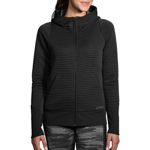 Womens Brooks Fly-By Hoodie Running Jackets - Black M