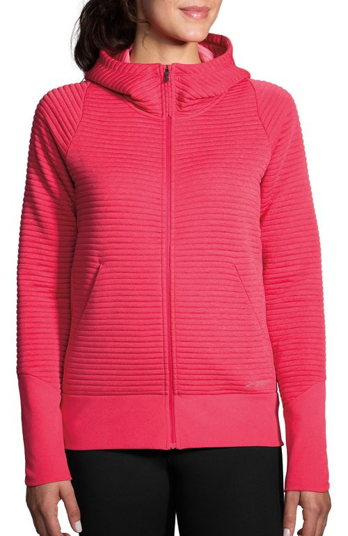 Womens Brooks Fly-By Hoodie Running Jackets - Heather Dahlia S