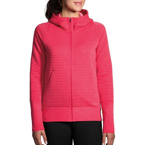 Womens Brooks Fly-By Hoodie Running Jackets - Heather Dahlia M