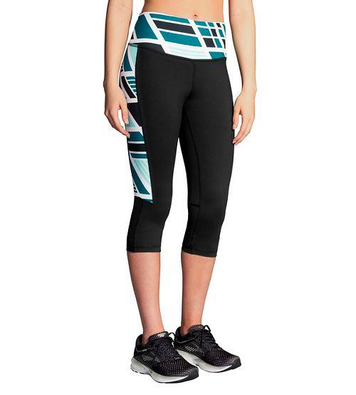 Womens Brooks Greenlight Capri Pants - Black Ocean Wave M