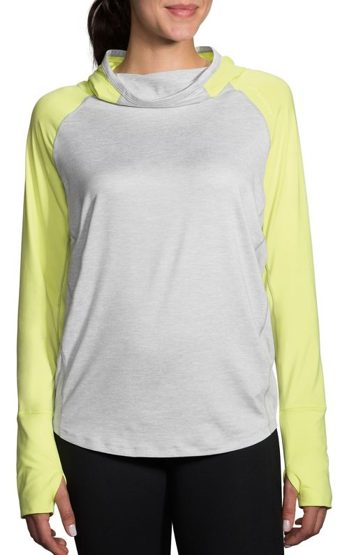 Womens Brooks Dash Half-Zips & Hoodies Technical Tops - Heather Sterling/Reed L