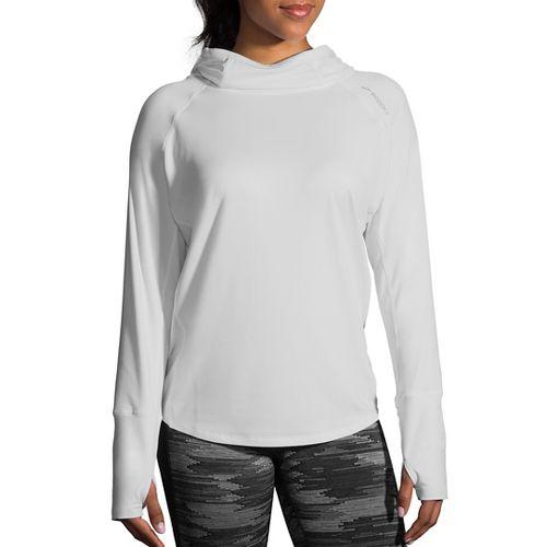 Womens Brooks Dash Half-Zips & Hoodies Technical Tops - White S