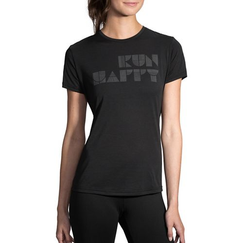 Womens Brooks Run Happy Tee Short Sleeve Technical Tops - Black/Silver S