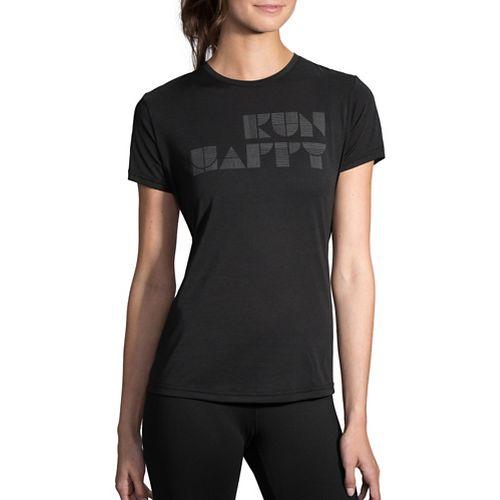 Womens Brooks Run Happy Tee Short Sleeve Technical Tops - Black/Silver XL