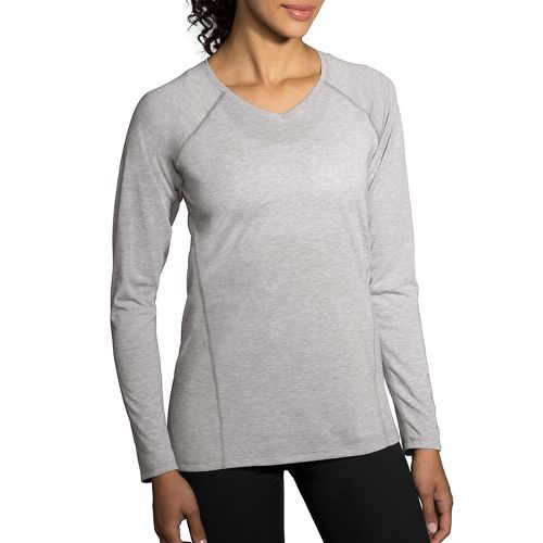 Womens Brooks Distance Long Sleeve Technical Tops - Heather Sterling XL