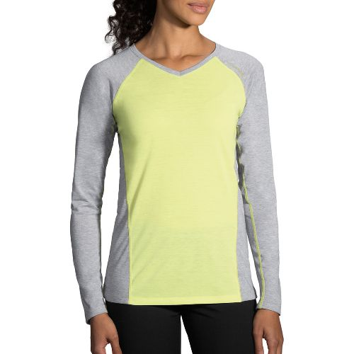 Womens Brooks Distance Long Sleeve Technical Tops - Reed/Heather Sterling L
