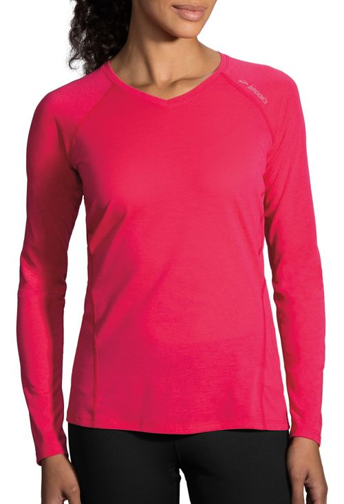 Womens Brooks Distance Long Sleeve Technical Tops - Dahlia XL