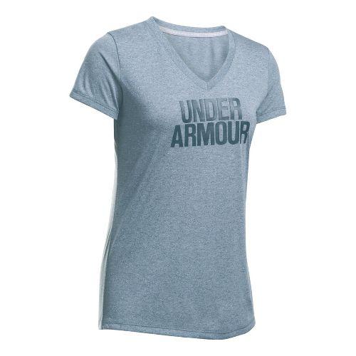 Womens Under Armour Threadborne Train Wordmark V Twist  Technical Tops - Steel M