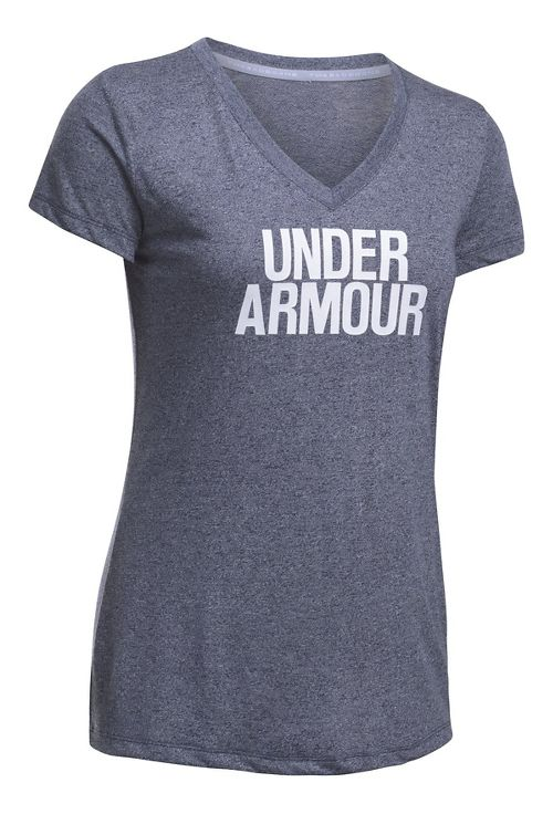 Womens Under Armour Threadborne Train Wordmark V Twist  Technical Tops - Navy/White M
