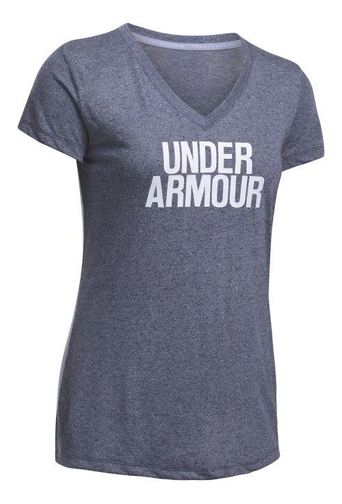 Womens Under Armour Threadborne Train Wordmark V Twist  Technical Tops - Navy/White XS