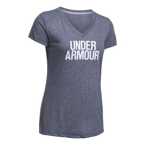 Womens Under Armour Threadborne Train Wordmark V Twist  Technical Tops - Grey/Skylight S