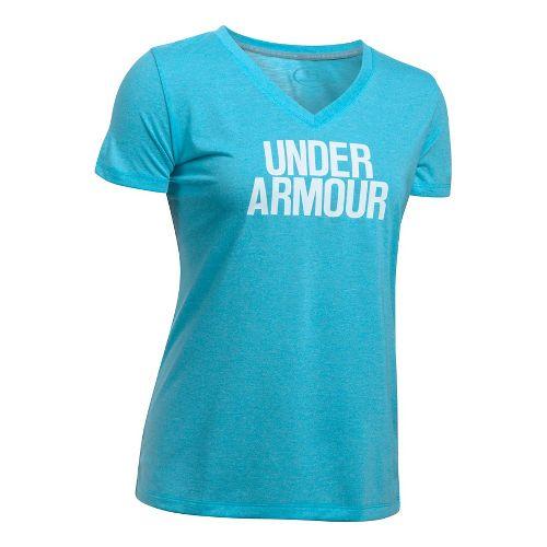 Womens Under Armour Threadborne Train Wordmark V Twist  Technical Tops - Blues/White XS