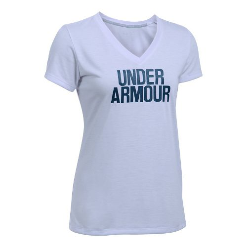 Womens Under Armour Threadborne Train Wordmark V Twist  Technical Tops - Lavender/Navy M