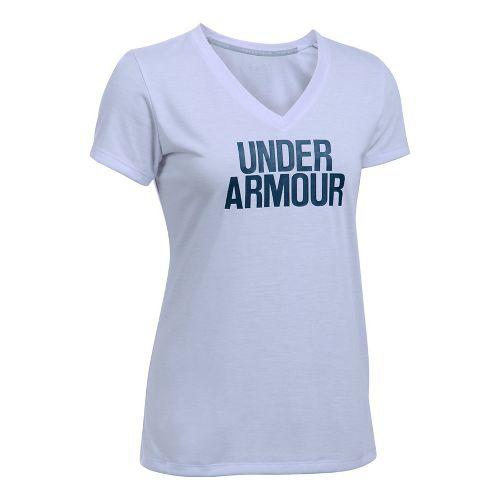 Womens Under Armour Threadborne Train Wordmark V Twist  Technical Tops - Lavender/Navy XL