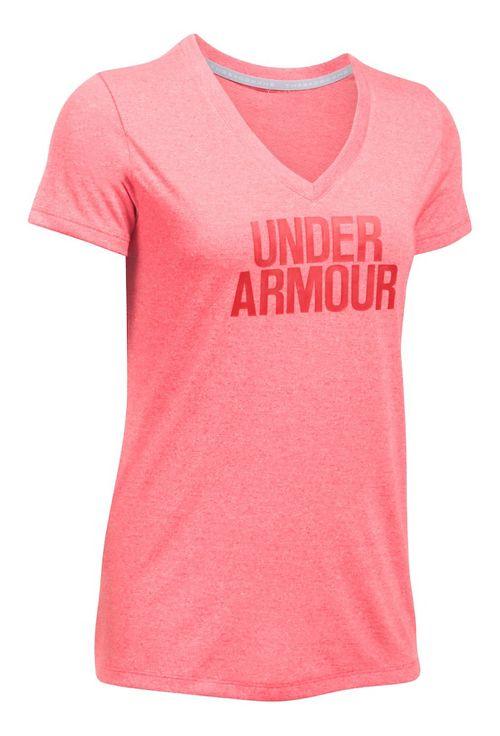 Womens Under Armour Threadborne Train Wordmark V Twist  Technical Tops - Pomegranate/Silver L