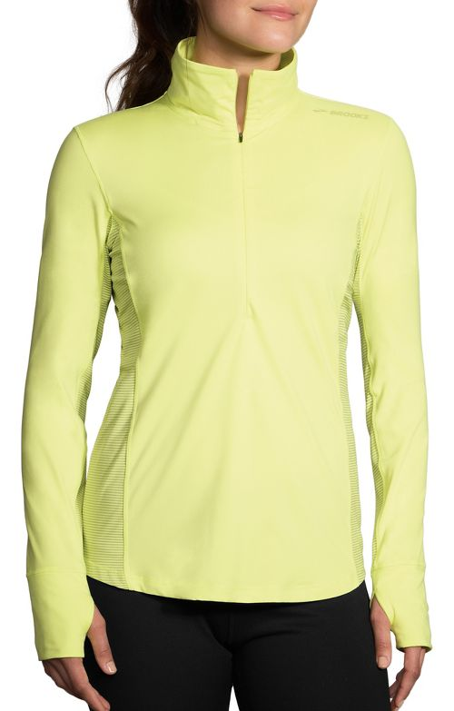Womens Brooks Dash Printed Half-Zips & Hoodies Technical Tops - Reed/Sterling Stripe XL