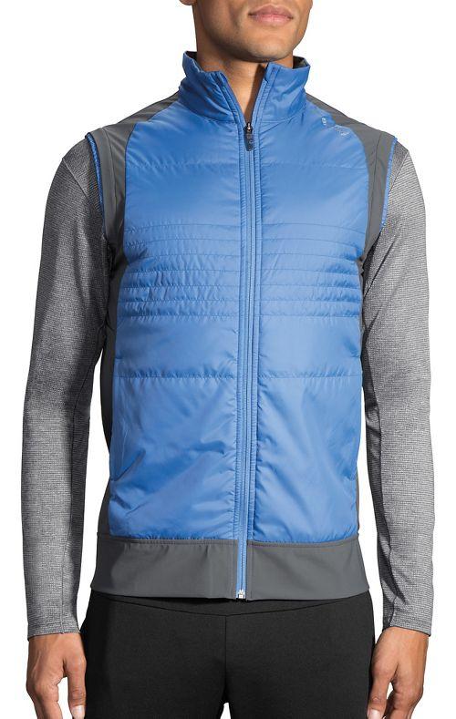 Mens Brooks Cascadia Thermal Vest Jackets - Bay/Asphalt L
