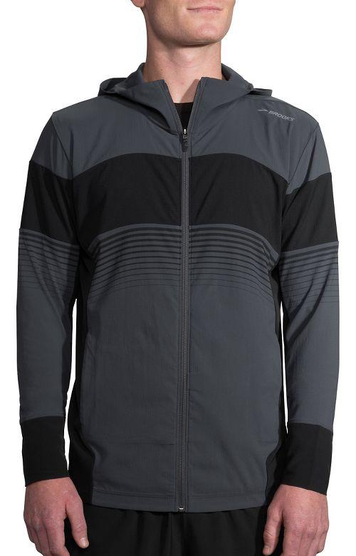 Mens Brooks Canopy Running Jackets - Asphalt/Black Stripe M
