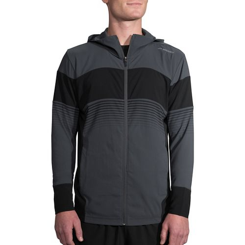 Mens Brooks Canopy Running Jackets - Asphalt/Black Stripe L