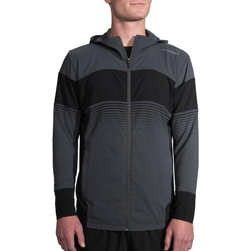 Mens Brooks Canopy Running Jackets - Asphalt/Black Stripe XL