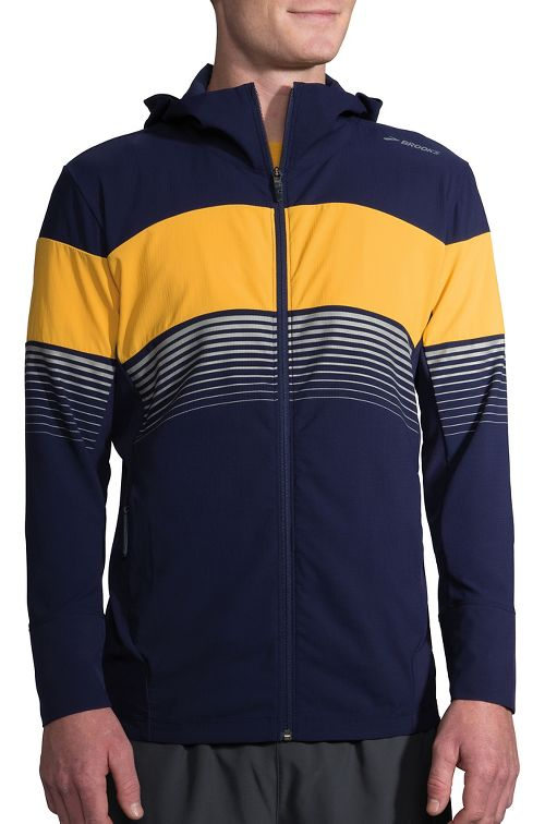 Mens Brooks Canopy Running Jackets - Navy/Finch Stripe L