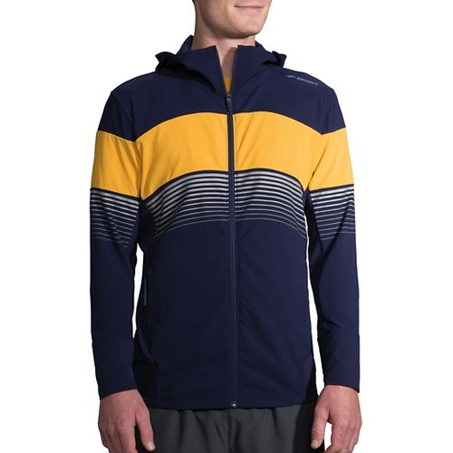 Mens Brooks Canopy Running Jackets - Navy/Finch Stripe M