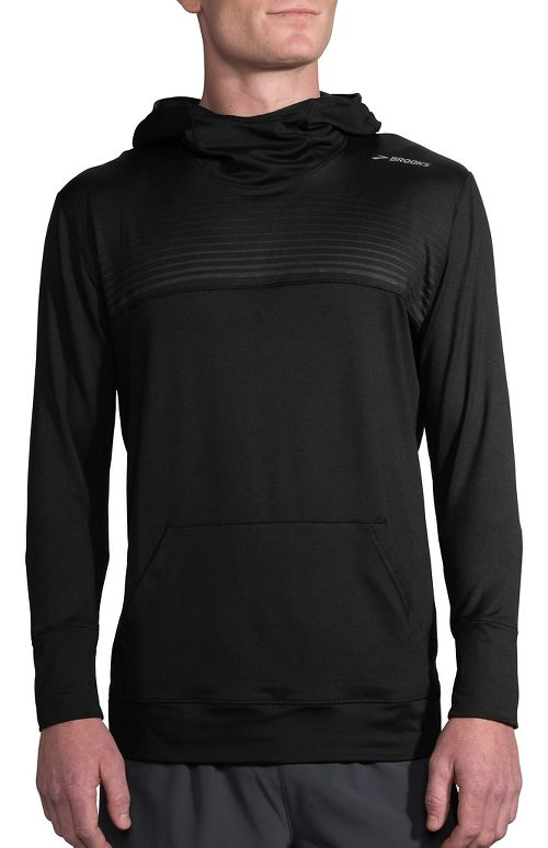 Mens Brooks Dash Half-Zips & Hoodies Technical Tops - Black/Black Stripe M