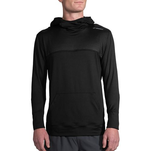 Mens Brooks Dash Half-Zips & Hoodies Technical Tops - Black/Black Stripe L