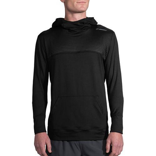 Mens Brooks Dash Half-Zips & Hoodies Technical Tops - Black/Black Stripe XL