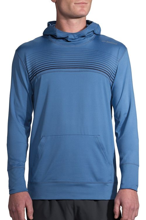 Mens Brooks Dash Half-Zips & Hoodies Technical Tops - Bay/Navy Stripe XL